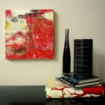 "untitled (red oil stick) on panel 20"" x 20"" - $350"